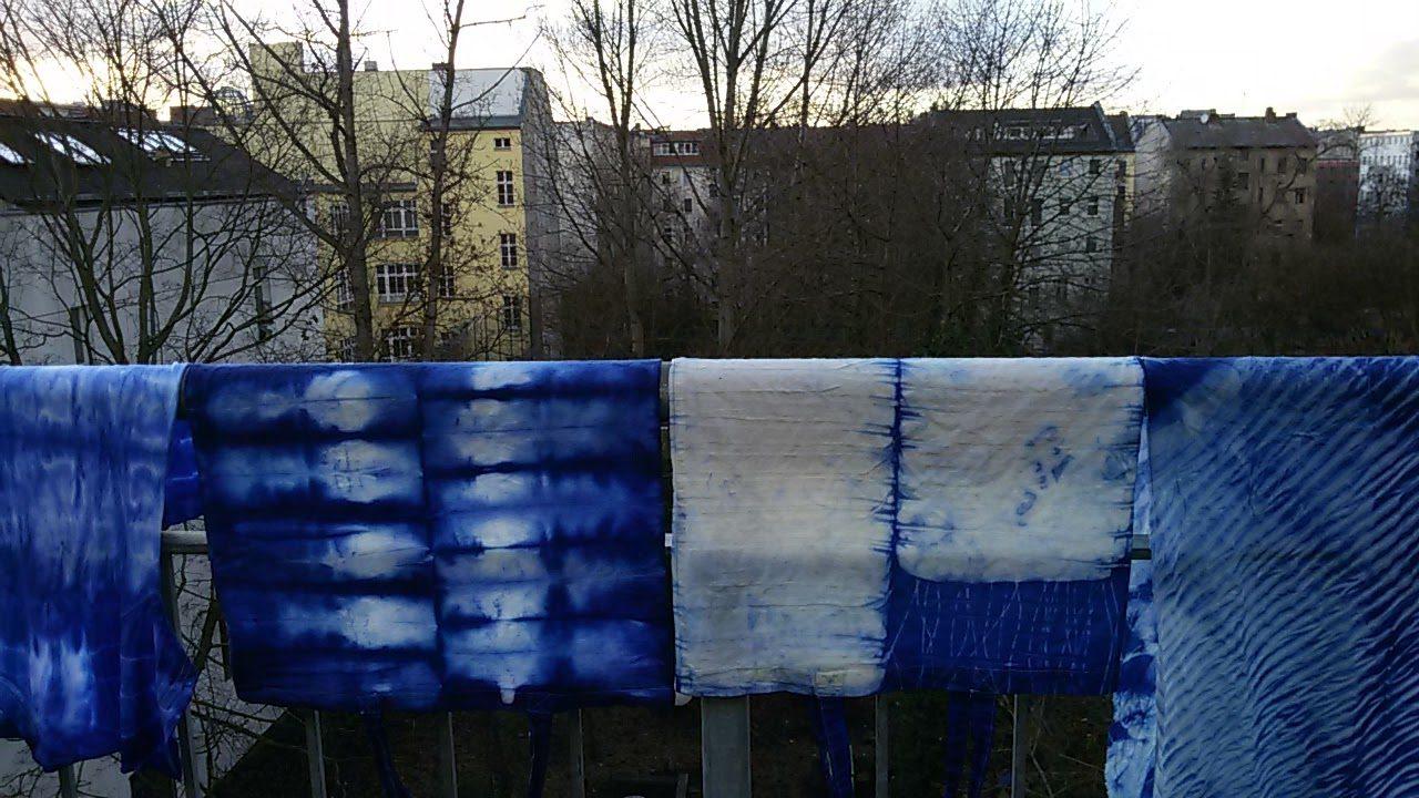 Batik Schals blau